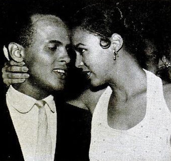 "Dorothy Dandridge and Harry Belafonte in an offstage moment from ""Carmen Jones"" that appeared in the September 30, 1954 issue of Jet. They also appeared on the cover."