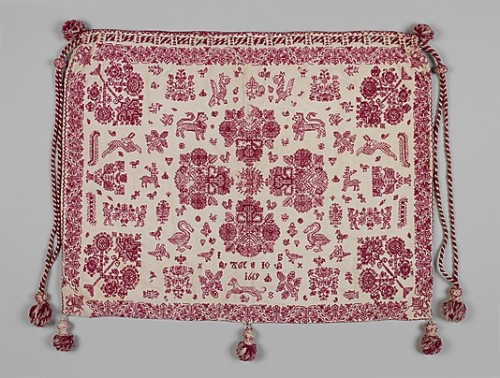 """A fine example of English amateur embroidery of the late 1600s, this work bag bears the initials of the young needleworker who made it, who also added the date 1669, and her age, ten. The bag, which would have been used to store embroidery implements and supplies, is decorated on both front and back with red wool thread, primarily in a double running stitch, on a linen foundation."" Though ""young needleworkers"" are few and far between in this century, Jillian Tamaki has created something pretty amazing with our Penguin Threads.  (via The Metropolitan Museum of Art)"
