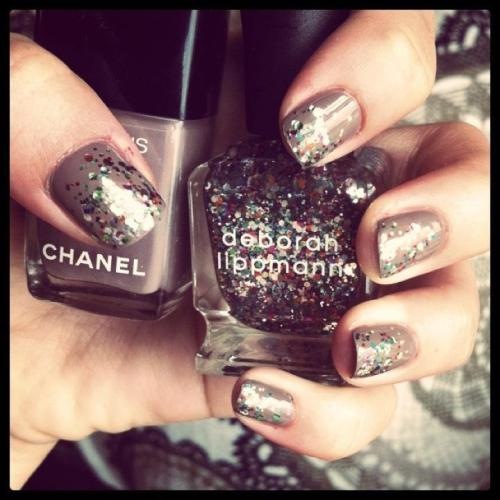 Coco and Debbie are now best friends. Chanel Le Vernis nail colour: Particuliere no. 505 Deborah Lippman nail polish: Happy Birthday no. 20060