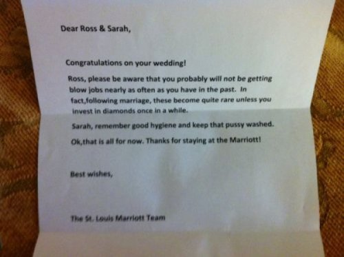 Wedding Congratulations From Hotel Please accept this complimentary letter as a token of our appreciation.