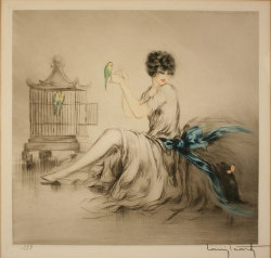 "fuckyeahmodernflapper:  Louis Icart (French, 1888-1950) 1927  ""Jealousy"" depicting woman with parakeets. Oh boy, I love parakeets."