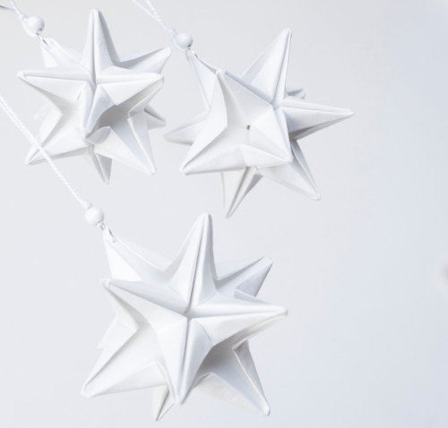 Origami White Christmas Stars decorations - set of 3