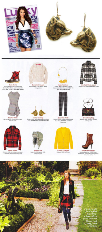 Didja see our wolf earrings in Lucky this month? Didja? Love the layout and feeling the flannel once again.