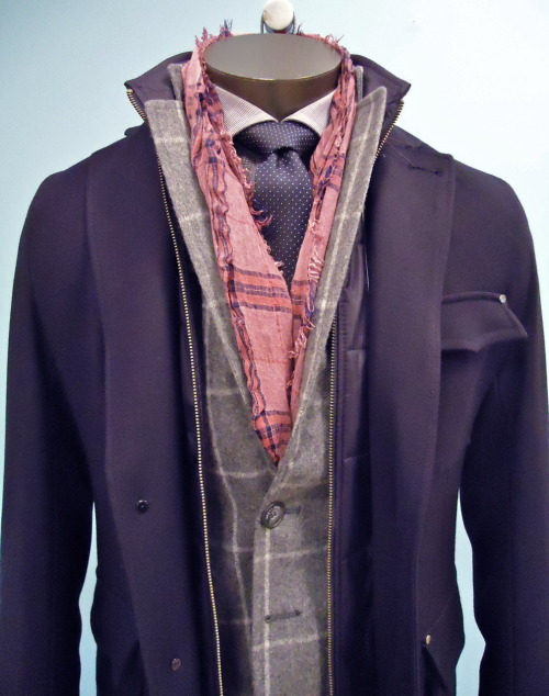 NEW Outerwear, Nicely fitted, slight stretch Wool, draped over tailored Grey windowpane Blazer. Antique Red pop color scarf.