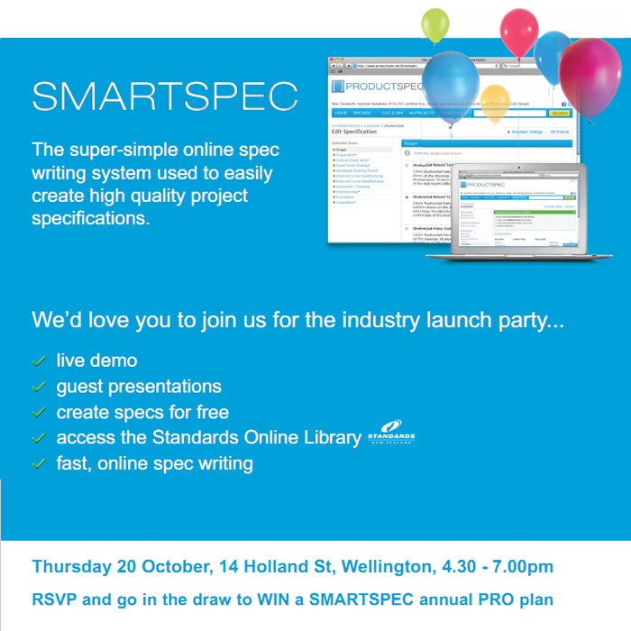 Tonight, Smartspec Wellington launch..! Architects & Designers come along and learn how to create faster and better project specifications, meet our team, have a drink, and find out more about the upcoming Smartspec developments.
