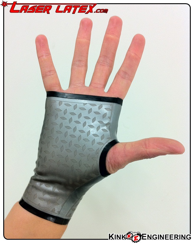 "kinkengineering:  Part 1: NEW DIAMOND PLATE LASER ETCHED GAUNTLETS AVAILABLE NOW. Diamond Plate Etched Gauntlets EDIT: Thanks to http://fictionalclothing.tumblr.com for letting me know that the non-slip pattern in steel is called ""Diamond Plate""… that term was eluding me!"