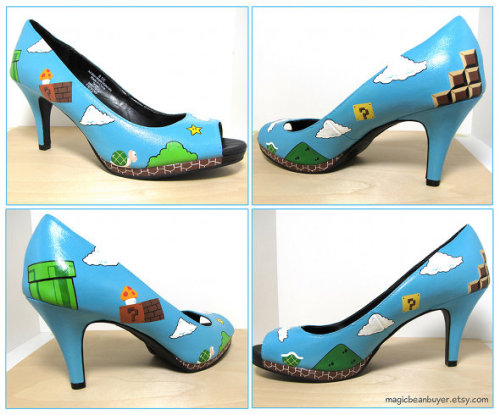 Oh WOW do I want these. Like now. Today. From Geeks Are Sexy:  Etsy user MagicBeanBuyer made these geektastic Super Mario high heel shoes as a personal project, but I'm pretty sure that if she'd consider making a few pairs for her Etsy store, they'd sell like crazy!