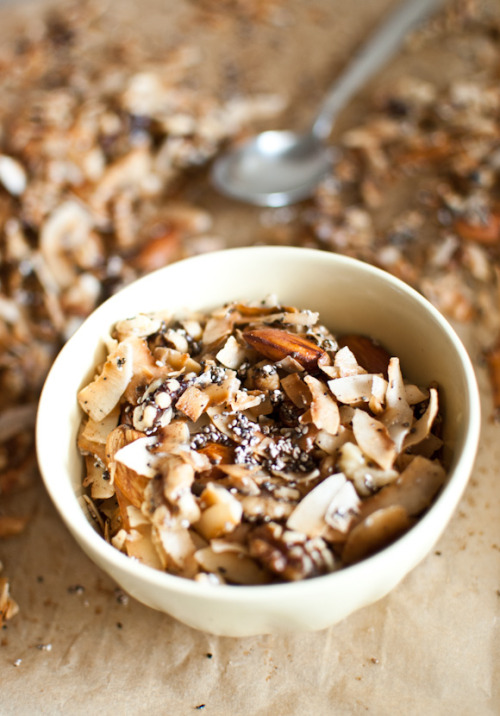 Oooh! Paleo-friendly granola- coconut, nuts, cinnamon… thanks internets!  (via Scandi Foodie: Sugar-free coconut granola)