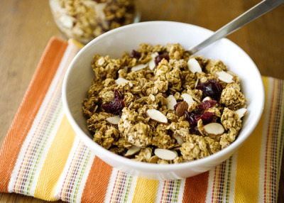 gastrogirl:  pumpkin granola with cranberries and almonds.