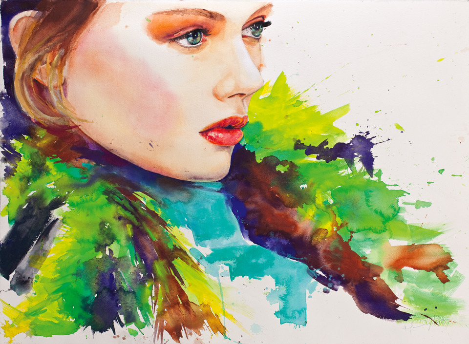 Kelly Mittendorf and Frida Gustavsson in Marcela Gutiérrez's illustrations for Prada Fall 2011 Wallpaper for Flagship stores