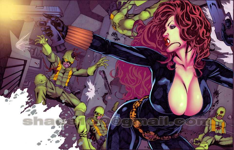 "Black Widow 11x17"" Color Print by *shadewearonline"