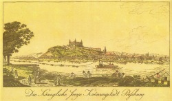 "Bratislava Castle - historical image - reads  ""Free Royal Coronation town of Bratislava."" Monumental castle known from the beginning of 10th century, built on former Slavonian fortification from 9th century from Great Moravian Empireabove Danube river. Latest reconstruction is from 1956-1968. One of the city signatures. Location: N 48.142276, E 17.100043 Architecture styles seen in castle: romanesque, gothic, renaissance, baroque The castle stands on a hill where the earliest occupation dates back to the Neolithic period (5th millennium BC). The Castle was first time mentioned in Salzburg annals in 907 AD. Current appearance was built in 15th century AD (1427). The palace wing was built between 1431-34. Next reconstruction happened between 1552 - 1639 lead by Italian architects. The castle became coronation headquarters during the Tartar incursions from the east. The last big reconstruction was based on works of french, italian and austrian architects - J. N. Jadot, L. N. Pacassi and J. B. Martinelli in 1750-1760. In 1811 the castle was ruined by big fire and for 140 years remained damaged. The reconstruction started in 1953 restored its original appearance."