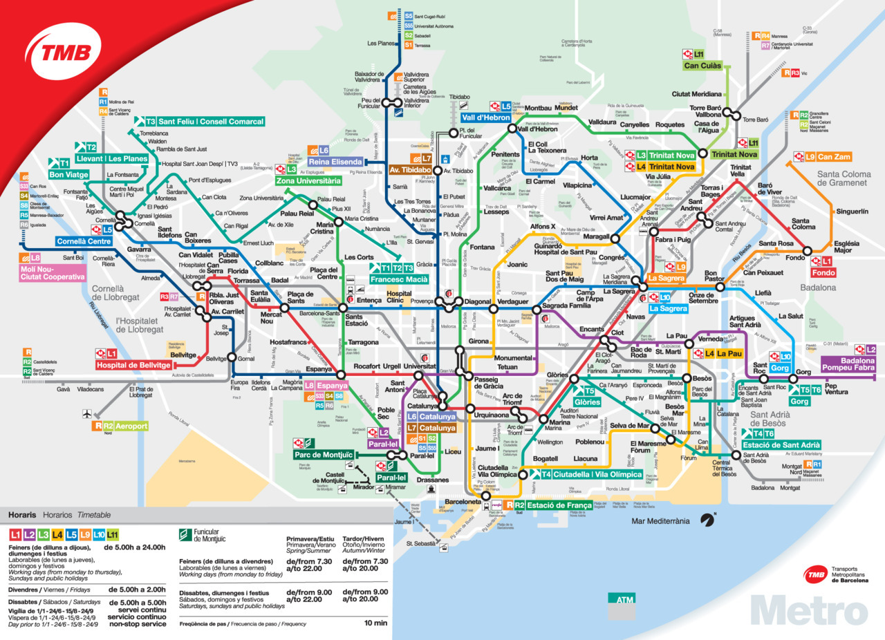 Official Map: Barcelona Metro, 2011 An attractive and easy to follow map with a few unusual features. At first glance, it appears to be a diagrammatic map in the form of the London Underground Diagram, but it's actually overlaid on a simplified, but accurate street grid, allowing easy reference to the features of the city. Especially prominent is the Avenue Diagonal - a major feature of the city emphasized by excellent design. It also cleverly rotates the map to fit the available space (note that north is not to the top of the page), instead using the coastline as the major reference point. Finally, it shows every form of rail transport used in the city - Metro, tram, commuter rail, funicular and cable car. Have we been there? Yes What we like: clean design, integration of all services, markers for multi-line stations give at least some indication of length of walk between lines (the walk between the two furtherest platforms at Passeig de Gracia is looooong!) What we don't like: No indication of how ridiculously steep the walk from Leseps or Vallarca stations to Parc Guell is. Our Rating: 4.5 stars!  Original source: Official Barcelona Metro site