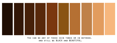 "This is for everyone who are told they are ""too dark"" or ""too white looking"" to be BLACK, and/or BEAUTIFUL. There are so many shades of brown. Stop the ignorance. We are black!"