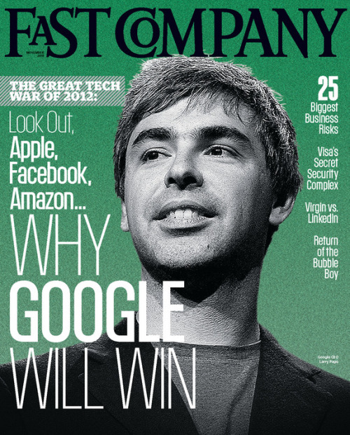 Fast Company, November 2011One of four different coversCreative director: Florian Bachleda, photo illustration: Ed Gabel/Joe Zeff Design  Source: Society of Publication Designers