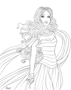 Halloween drawing Lineart! Can you guess who she is? (: