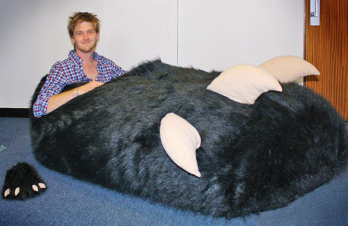 "aruarian-dance:  thedailywhat:  Monster Slipper of the Day: Tom Boddingham is the proud owner of a brand new monster's paw-shaped bed. One problem, though: He ordered a slipper. Boddingham says the Chinese company that manufactures the slipper missed the decimal point in his custom order: He wanted a size 14.5 left, but got a size 1,450 instead. ""It was sent directly from Hong Kong and measures 210 x 130 x 65cms – the same length as a grizzly bear or a family car,"" the 27-year-old from Ilford, East London, is quoted as saying. ""I reckon I must be the owner of the biggest slipper in the world."" The company has since apologized to Boddingham, and promised to send him a replacement slipper. Asked why the request for a XXXXXXXXXXXXXXXXL monster's paw didn't raise any flags, a spokesman said the employees thought it was meant as a prop for a window display. [mirror.]  holy shit and they didn't charge him extra??? da fuq"