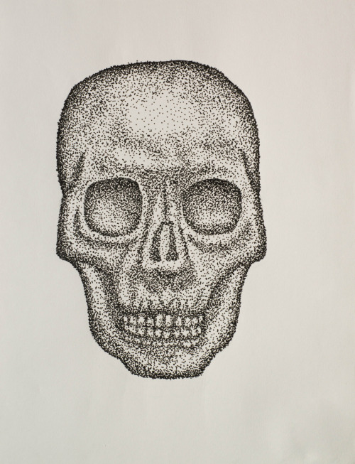 Human Skull, value through pointillism. Medium: Uni-ball Fine Point Pen