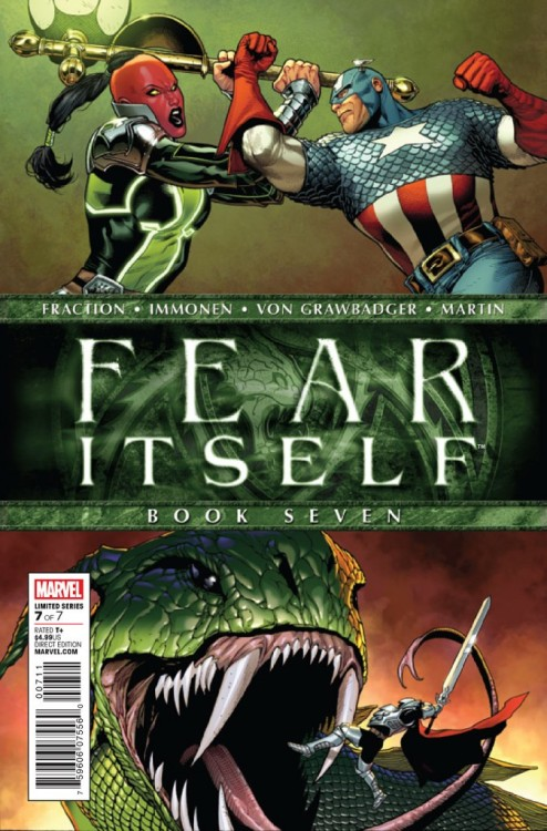 Fear Itself #7, December 2011, written by Matt Fraction, Cullen Bunn, Jason Aaron and Chris Yost, penciled by Stuart Immonen, Mark Bagley, Mike Choi, Scot Eaton and Terry Dodson