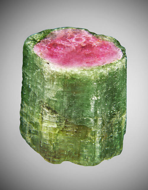 Watermelon Tourmaline Colors caused by traces of: chromium (red), lithium (green, pink), manganese (pink), or vanadium (green)