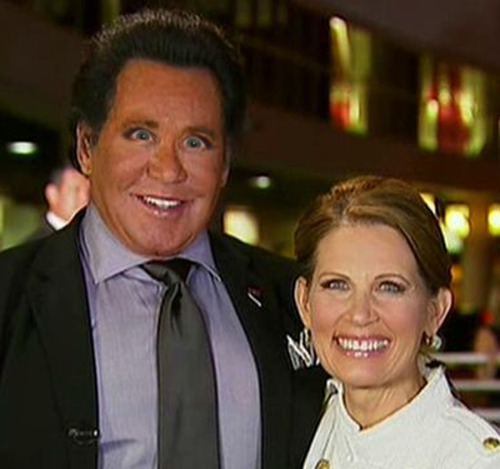 Wayne Newton with Michele Bachmann eyes and a fully assembled Michele Bachmann.