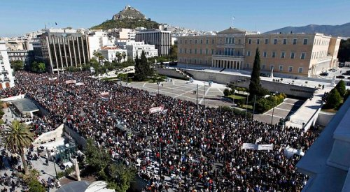 Thousands in Greece Protest Austerity Bill…  By now, it almost feels like a ritual: a strike and large demonstration disrupted by skirmishes and tear gas ahead of a parliamentary vote on new austerity measures that Greece needs to take to qualify for the next installment of aid the country needs to fend off default. [… »
