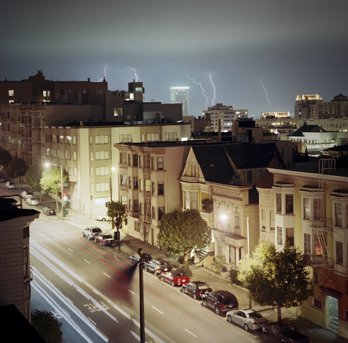 Lightning Storm from My Roof. California and Buchanan st.  San Francisco. 2005 (Lost Film Roll, Rolleiflex TLR)