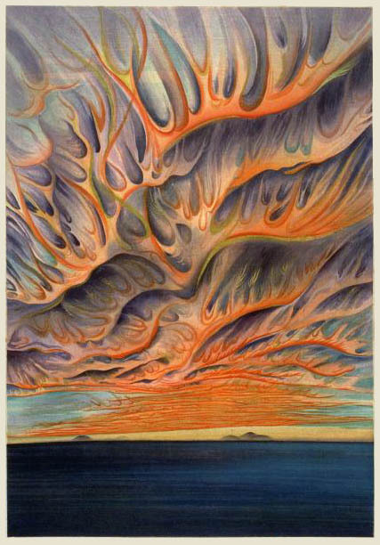 "yama-bato:  Setting Sun in the Sacramento Valley by Chiura Obata, 1930     [+](published by Takamizawa) Obata's original painting of this view is in the Asian  Art Museum, San Francisco. Regarded as the most visionary of his  California landscapes. Obata described the scene as, ""a forest of fire  in the sky, with its devilish flames roaring across the heavens"".(link)"