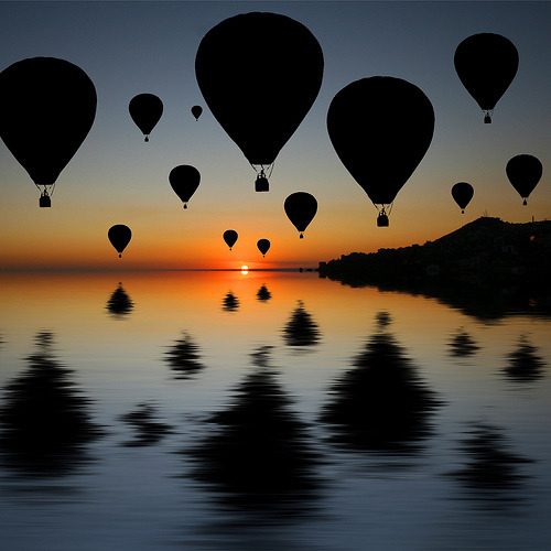 Sundowner Silhouette - hot air balloons (by Heaven`s Gate (John))