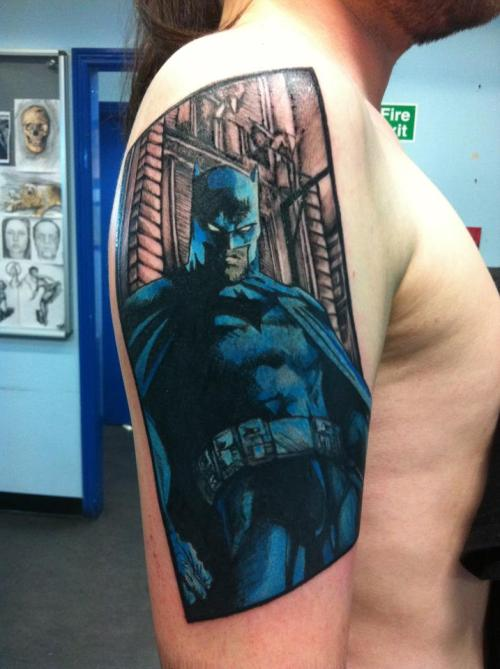 fuckyeahtattoos:  This is the start of my second sleeve based on Batman artwork by Jim Lee. It's being done by my friend Kris Barnas @ Wildcat in Dublin, Ireland.  This is badass!