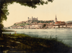 Bratislava Castle - historical image around 1900 Monumental castle known from the beginning of 10th century, built on former Slavonian fortification from 9th century from Great Moravian Empireabove Danube river. Latest reconstruction is from 1956-1968. One of the city signatures. Location: N 48.142276, E 17.100043 Architecture styles seen in castle: romanesque, gothic, renaissance, baroque The castle stands on a hill where the earliest occupation dates back to the Neolithic period (5th millennium BC). The Castle was first time mentioned in Salzburg annals in 907 AD. Current appearance was built in 15th century AD (1427). The palace wing was built between 1431-34. Next reconstruction happened between 1552 - 1639 lead by Italian architects. The castle became coronation headquarters during the Tartar incursions from the east. The last big reconstruction was based on works of french, italian and austrian architects - J. N. Jadot, L. N. Pacassi and J. B. Martinelli in 1750-1760. In 1811 the castle was ruined by big fire and for 140 years remained damaged. The reconstruction started in 1953 restored its original appearance.