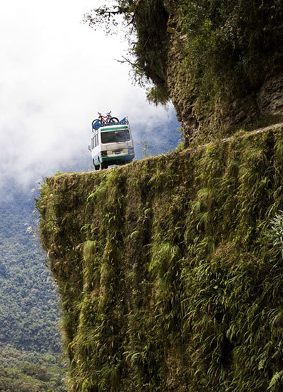 Known as the world's most dangerous roadway, the Yungas Road in Bolivia is the cause of an estimated 200-300 deaths per year. Scary. (via World's Most Dangerous Roads)