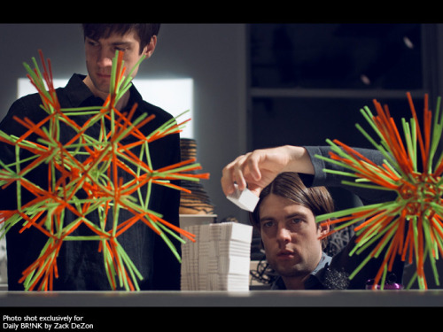 "Twins create ingenious tool to utilize visual biology for artistic advantage. That all seems oddly scientific… Ryan: … We asked, ""What is it like to see? If we're  pursuing visual art, what are the characteristics that make visual art  successful? How do these visual rules have weight?"" … Everything about visual art is  integrally tied to the act of looking, so we just considered, very  closely, the act of looking itself; the experience of vision (…). Ryan and Trevor Oakes, Double Visionaries"