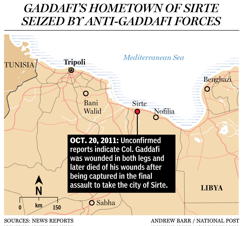 Map: Gaddafi's hometown of Sirte, where he was reportedly captured and killed by NTC forcesRelated:Muammar Gaddafi reportedly killed as Libyan forces seize Sirte A timeline of the war in Libya from revolt to reports of Muammar Gaddafi's death Peter Goodspeed: Gaddafi's demise offers new opportunities, and dangers Photos: Libyans celebrates as Muammar Gaddafi reportedly killed Analysis: Gaddafi's rule defined by bloodshed and repression