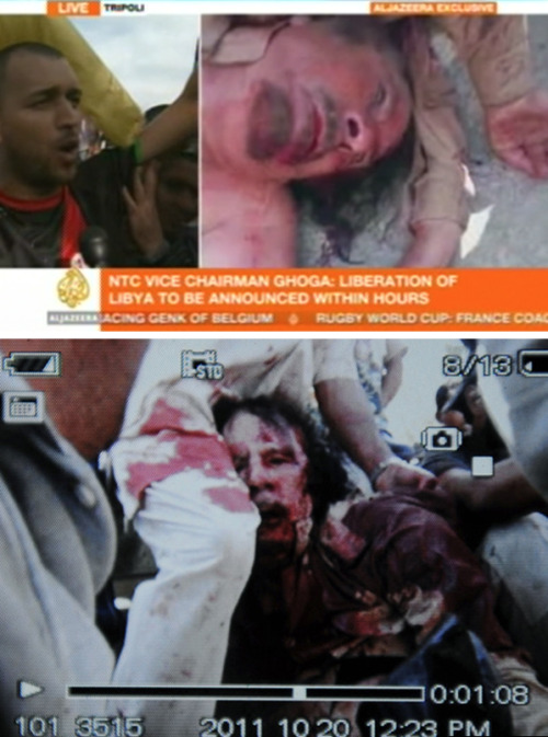 Al Jazeera English and AP's images of Muammar Gaddafi lying dead in the streets of Sirte, Libya. Muammar Gaddafi's Death Photos And Video (NSFW)