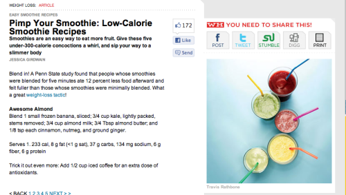 Women's Health knows me so well<3  I actually want to try all of these. Except for the cherry one. I hate cherries. ick There's even one you can add alcohol too. Irrelevant because I don't drink, no really, I don't, but I know from working in a restaurant how UNHEALTHY mixed drinks can be, yikes.  -Erin  (Click the picture for the article!)