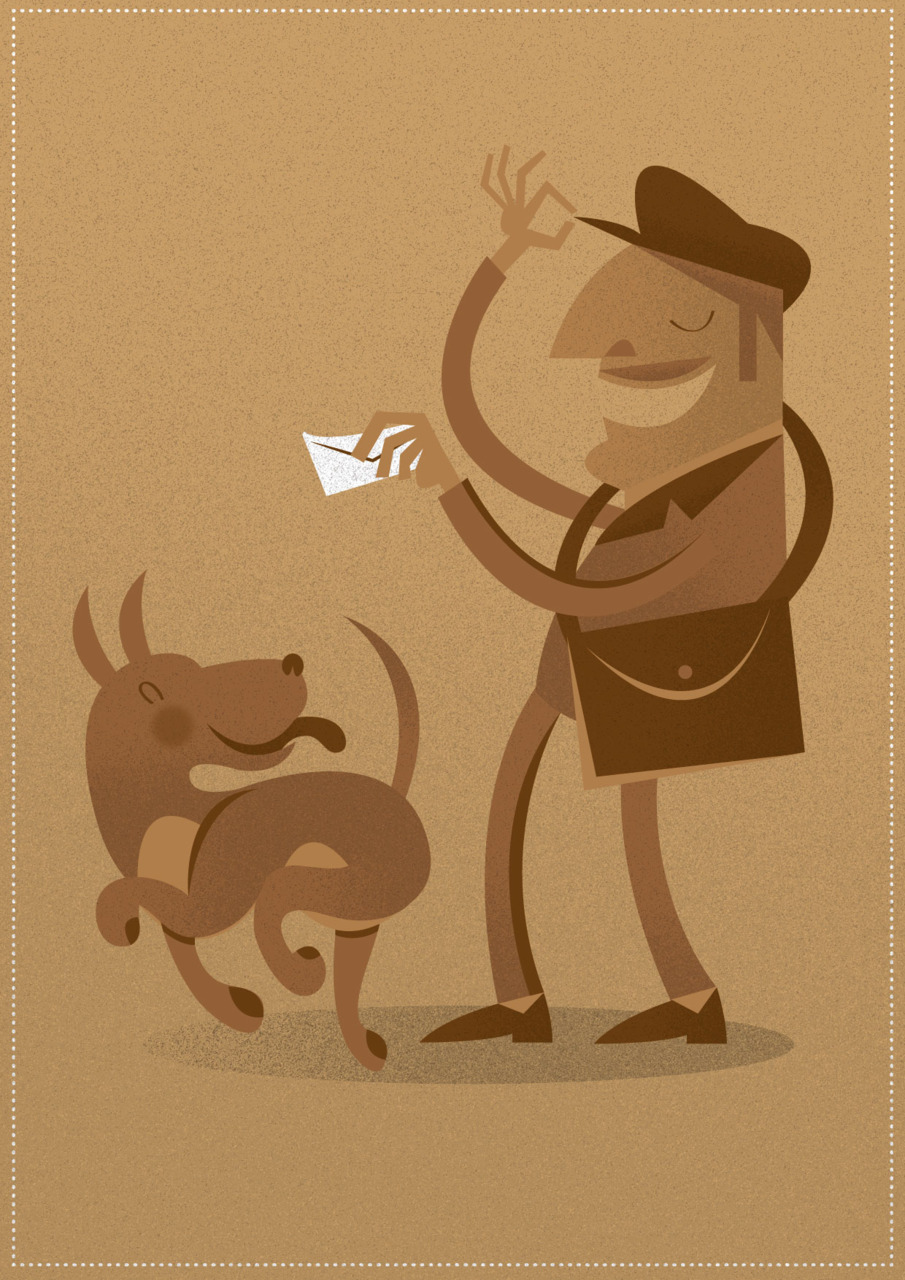 Illustrated enemies as best buddies, Postman and the Dog.
