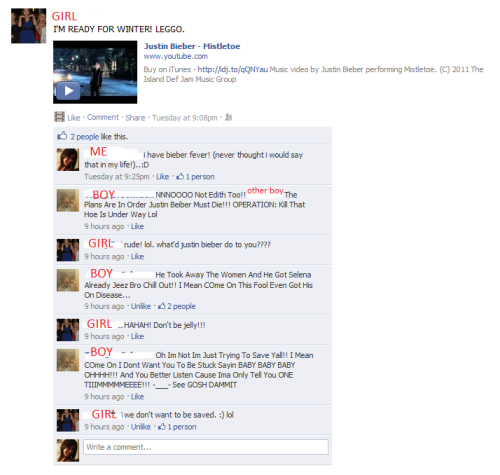 my friends are hilarious. By the last comment, i think he is in denial of his own bieber fever. :D