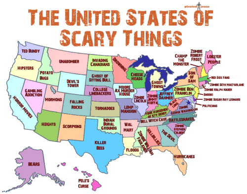 pleatedjeans:  The United States of Scary Things (larger image here)  Born in the land of Snooki. Raised in the land of Tornadoes and Lemp Mansion. Currently residing in the land of Hipsters.