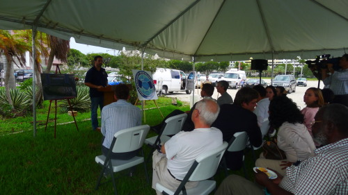 William Placencia aka @MiamiMe speaking during Grand Central Park Groundbreaking