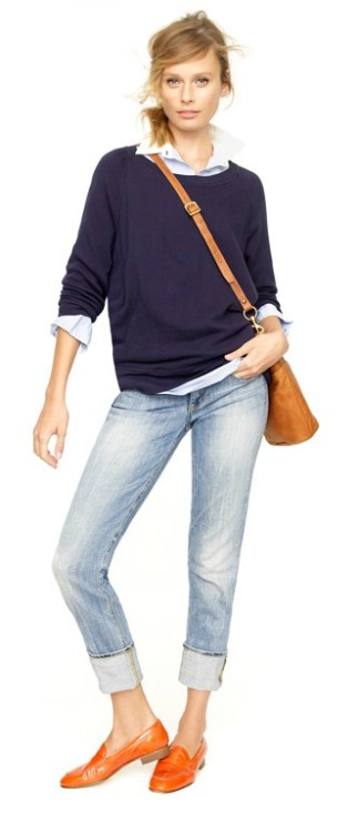 (via Style / jcrew fall look… love the orange loafers)
