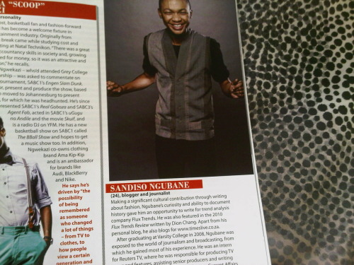 "Sandiso Ngubane (that's me), listed among 40 other men under the age of 40 in Destinyman Magazine's ""Power of 40"" List. Check the list out in their November/December 2011 issue."