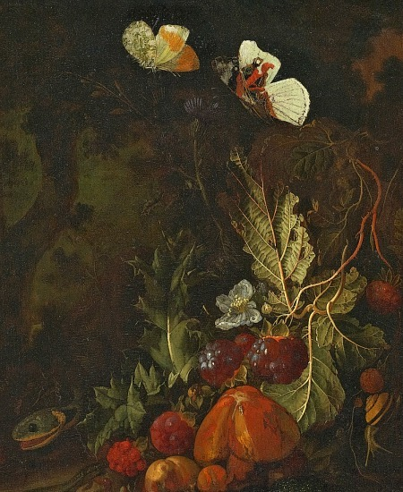 Karl Wilhelm de Hamilton Still Life with Fruit, Butterflies and Snake 18th century