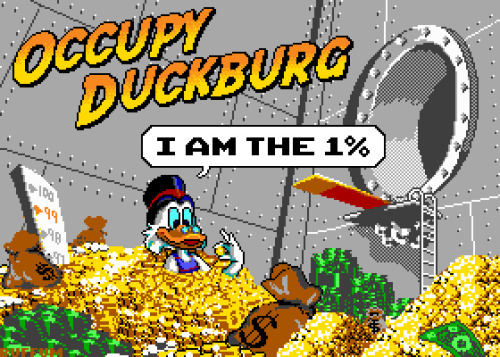 Wondering who is in the 1%? Scrooge McDuck is, of course! Jude Buffum brings his pixelated art skills to the Occupy Wall Street scene. Related Rampages: Blue is Always Stronger (More) Occupy Duckburg by Jude Buffum (Flickr) (Facebook) (Twitter)