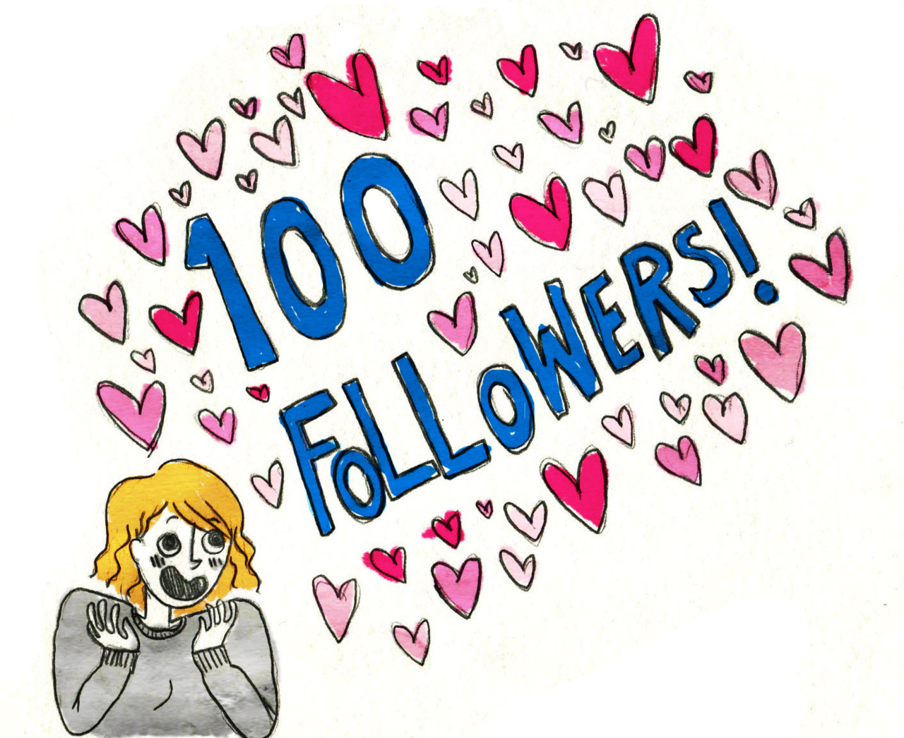 OH WOW GUYS. So I reached 100 followers yesterday, and it's really exciting! Thank you everyone who has decided to join my silly drawing adventure here. Even you spambots. I love you all!
