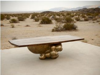 "alma allen, bronze and claro walnut coffee table, 60"" x 28"" x 16"