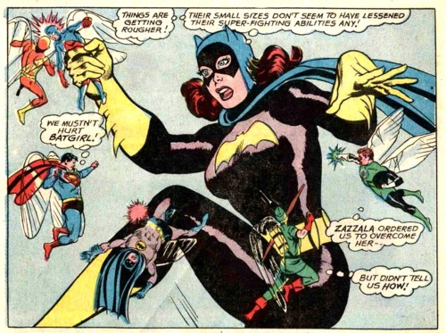 fyeahbatgirl:  From Justice League of America 60, Batgirl vs the Justice League… in miniature!    This looks like genius.