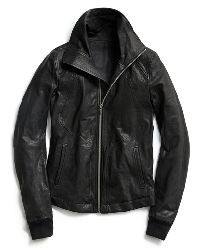 "GQ Selects: Rick Owens Leather Moto Jacket ""We've always been big fans of Rick Owens, but specifically his leather jackets. There are a few people that come along, Helmut Lang was like this, Rick Owens owns this. He's a modernist, doesn't take anything from the past, always reinventing things; he wouldn't call this a biker jacket, but I look at it and see the asymmetrical zipper, the big collar, and there's obviously a biker influence there. The fit of the jacket is wonderful—the way it's shaped ergonomically and fits your body with the super-high armhole and tight, skinny sleeves that are way too long and push up. He's taken so much care into how the jacket fits. Everything about it gives you an instant cool factor.""—GQ creative director Jim Moore More GQ Selects here."
