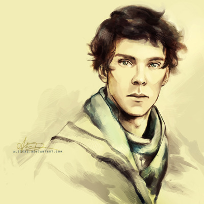 alicexz:  [ Rift ] Finished portrait from my sketch of a younger Sherlock. Print available at my Society6 shop.  I am still here guys! I just haven't had any time to read. If you have recs, do please send them in, I would love to read them and share them.