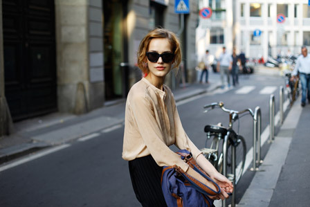 glamour:  Milan Fashion Week street style, photographed by Young & Posh blogger All The Pretty Birds.